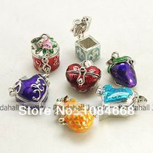 Brass Prayer Box Pendants, with Enamel, Mixed Shape, Mixed Color, 16~22x15~22x11~14mm, Hole: 4x6mm(China)