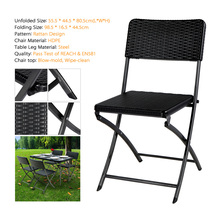 iKayaa US Stock 2PCS Outdoor Patio Folding Chair Indoor Dining Garden Party Beach Camping Stool Patio Furniture