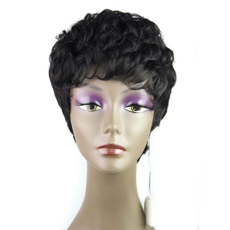 4 Afro Wig Capless Synthetic Short Hair Black Curly Wig Heat Resistant African American Wig For Black Women Cheap Pixie Cut Wig<br><br>Aliexpress