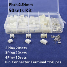 50 sets Kit in box 2p 3p 4 pin 2.54mm Pitch Terminal / Housing / Pin Header Connector Wire Connectors Adaptor XH2P Kits(China)