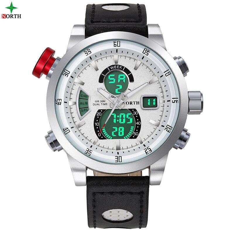 NORTH Unique Vogue Men Swimming Digital  Quartz Outdoor Sports Watches Relogio Masculino Clock With Handmade Leather Strap 2017<br>