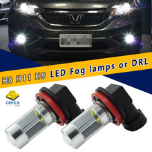 2pcs 6000K Xenon White 4CREE LED H8 H9 H11 LED Bulbs For DRL Fog Lamps Replacement Lamps