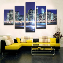 5plates this Mosaic ocean building modern urban family decoration painting on the canvas print news photo wall art can be frame(China)