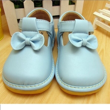 2016 Sping Autumn Baby Girl Squeaky Shoes Blue Butterfly-knot Shoes(China)