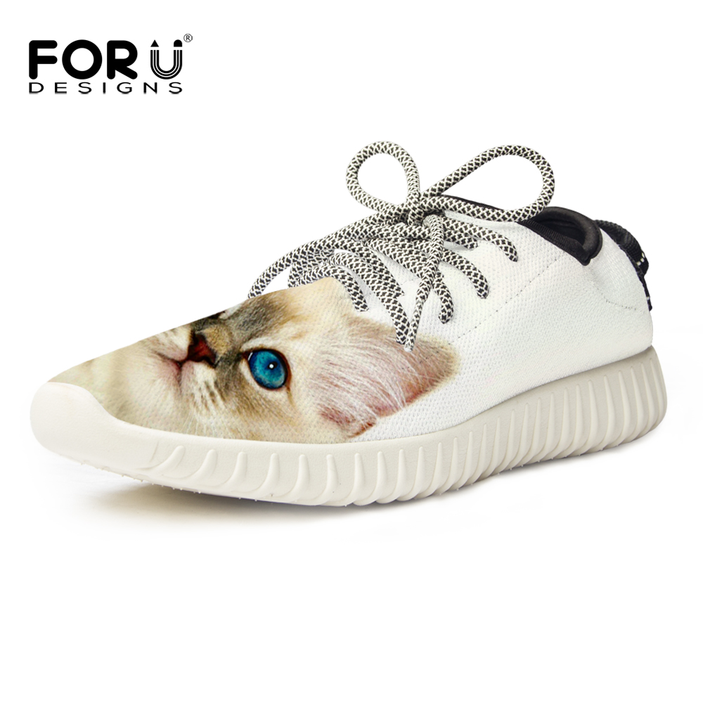 FORUDESIGNS Fashion Women Shoes Casual Ladies Animal Cute Cat Printing Shoes Feminino Ladies Flat Shoes Footwear Size 35-40<br>