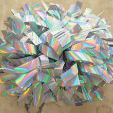 "Custom Professional Cheerleader Pom poms 3/4""x 6"" Baton Handle Competion Costume Metallic holographic Lazer Poms 180g Thick"