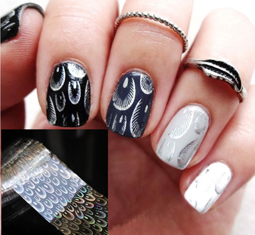 1Pc Holographic Nail Foils Peacock Feathers Foils Nail Art Transfer Sticker Paper<br><br>Aliexpress