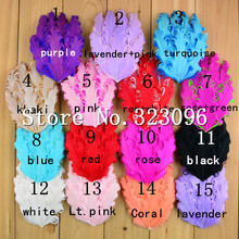 Free shipping HOT sale 24pcs Wholesale Curly Feather Pad DIY hair accessories 15 color feather boa goose feathers craft/headwear