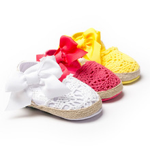 New Fashion Sweet Newborn Baby Girls Spring Summer Style Prewalker Princess Shoes Knitting Bow Soft Soled Shoes 0-1 Year