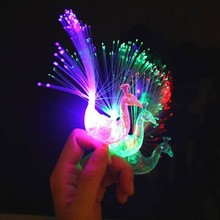 2018 LED Peacock Fiber Finger Light Beam Torch Rings Kids Adults Nightclub Rave Glow Party Supplies Christmas Navidad New Year(China)