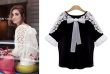 Women Blouses 2015 Summer Shirts Plus Size White / Black Chiffon Lace Blouse Shirt Patchwork Women Summer Tops S~Xl 24