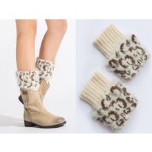 New fashion Women's warm knitted feather yarn leg warmer fake fur leopard short boot cover(nwt27)(China)