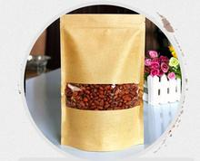 Size 18*26+4cm brown kraft food packaging stand up pouch self standing ziplock kraft paper window bags(China)
