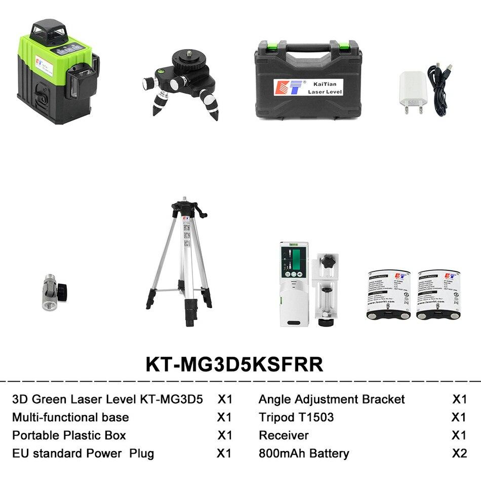 KaiTian 12 Lines Laser Level Self-Leveling Horizontal 360 Rotary Vertical Cross Super Powerful Green Laser Beam Line Level Tools MG3D5KSFRR SET