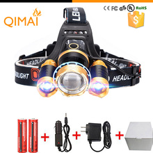 Led Headlight 8000Lm Rechargeable Headlamp Flashlight Head Torch Linterna Xml T6+2Q5 Use 18650 Battery Car Charger Fishing Light