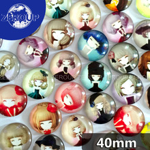 ZEROUP 40mm round glass cabochon new girl pictures mixed pattern fit cameo base setting for flat back jewelry 5pcs/lot(China)