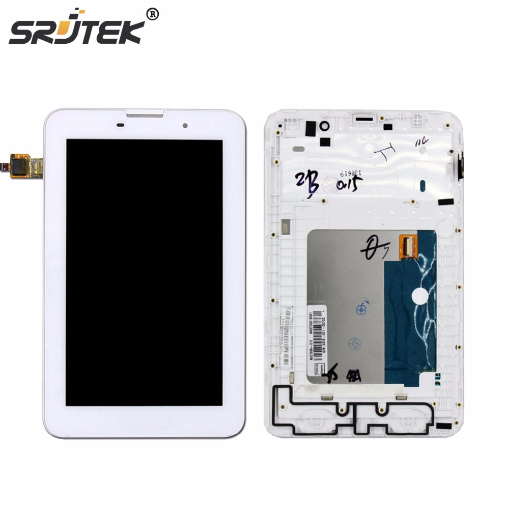 Srjtek 7 For Lenovo IdeaTab A3000 Replacement LCD Display Touch Screen with Frame Assembly For Tablet PC White<br>