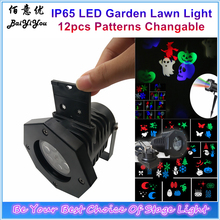 IP65 Merry Christma LED Snowflake Projector Star Lawn Light 12pcs Patterns Replaceable Holiday Party Wedding Xmas Light