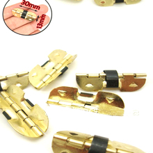 LHX AYP101 10pcs/lot Brass Metal Special Design Golden Jewelry Gift Box Cabinet  Mini Spring Hinge 4 Holes