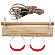 Toys Equipment for Children Baby Multifunctional Wooden Swing Seat Gym Rings with Plastic Grip 3 in 1 Play Sets S210(China)