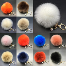 Stylish 8CM Rabbit Fur Fluffy Pompom Ball Handbag Car Pendant Key Chain Keyring