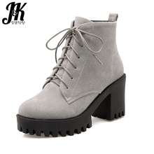J&K Big Size 34-43 Fashion Lace Up Nubuck Ankle Boots Thick High Heels Platform Shoes Woman Add Fur Skid Proof Winter Boots(China)