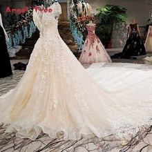 Buy Angel Tree Robe de mariee ivory cap sleeves lace ball gown cathedral train beading luxury 2018 wedding dresses vestidos de noiva for $650.46 in AliExpress store