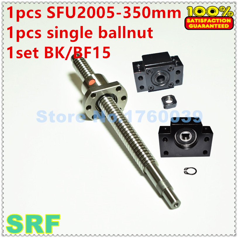 1pcs Rolled Ball screw 20mm SFU2005   Length 350mm +1pcs single Ballnut +1set BK/BF15 Ballscrew end support<br>