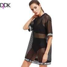 DIDK Summer Dress 2017 Sexy Dress Logo Trim Drop Shoulder Fishnet Tee Dress Black Half Sleeve Round Neck Shift Dress