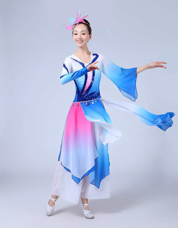 Classical Dance Performance Clothing Yang Ge Service 2016 New Middle-aged Fan Umbrella Dance Performance Clothing Ethnic(China (Mainland))