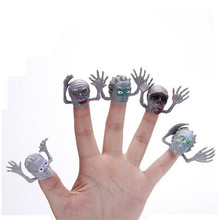 Funny!! 6pcs/lot Novel PVC Ghost Finger Puppet For Telling Stories Halloween Funny Toy Action Figure Toy(China)