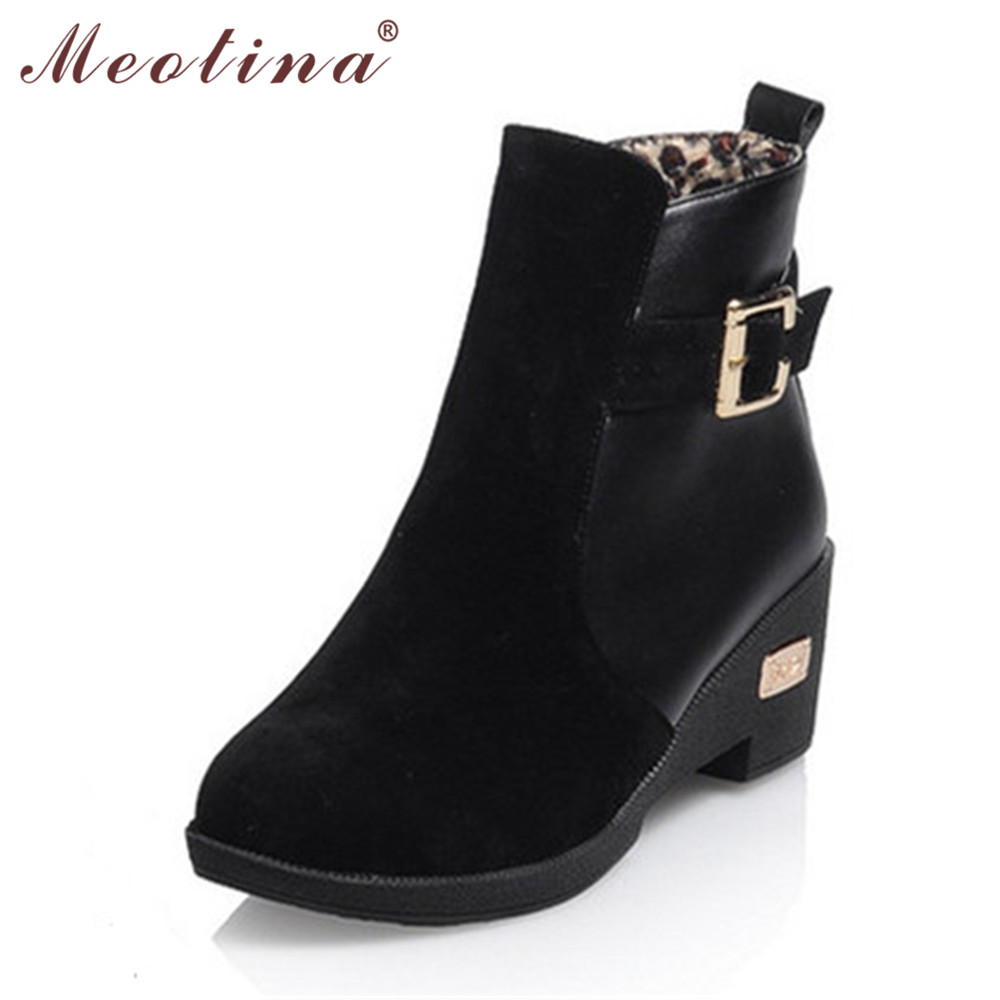 Meotina Winter Women Snow Boots Fur Ankle Boots Wedge Heels with buckle Ladies Shoes Black Beige Brown Size 9 10 42 43<br><br>Aliexpress