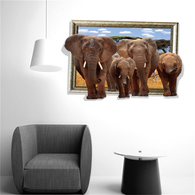 3D Cartoon Animal Elephant Groups Wall Stickers Removable PVC Mural Decals for Home Decor Boys Kids Room Decoration(China)