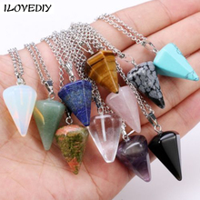 New natural stone crystal Necklace Crystal Cluster Pendant Cone Rose Quartzs Druzy Necklace for Women Natural Stone Jewelry