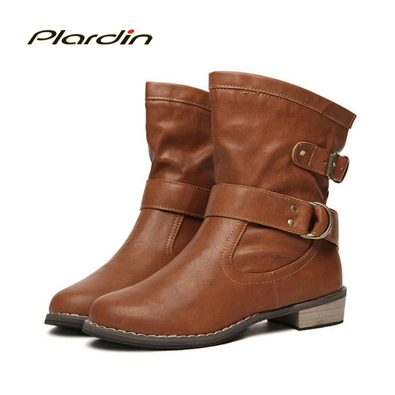 plardin Fashion Women Boots Autumn Winter Martin Ankle vintage boots Women Shoes Woman Womens Motorcycle Boots<br><br>Aliexpress