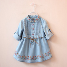 New 2017 girls denim dress 3 to 10 Years Cotton Girls embroidery Dress Toddler Girls long sleeve clothing Teenager Girls Summer(China)