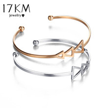 17KM Small Scratch Triangle Open Bracelet Bangles for Women 2017 Vintage Female Rose Gold Color Silver Color Cuff Bangle Jewelry(China)