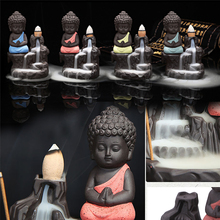 Incense Burner Calm Ceramic Incense Burners Aromatherapy Creative Little Monk Censer Backflow Stick Incense Burner Buddha Crafts(China)