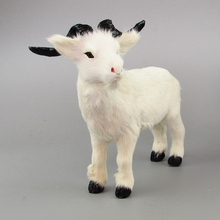 white goat real fur sheep model about 20x17cm ornament scene layout prop farm decoration gift h1286