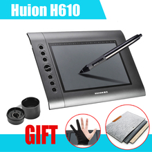 "HUION H610 10x6.25"" Professional Graphics Drawing Tablet Pro + 15Inch Wool Felt Liner Bag Cover + Anti-fouling Golve"