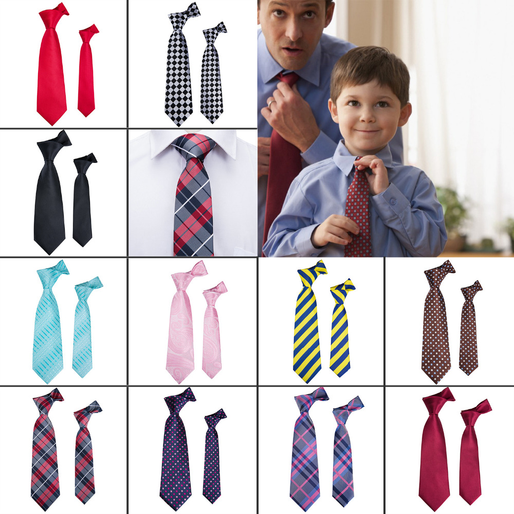 Boys Slim Tie Pattern Neckties Kids Formal Children Wedding Prom Ties with Hanky