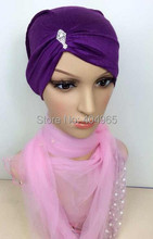 H831b new style cotton jersey muslim tube hat with rhinestones,fast delivery