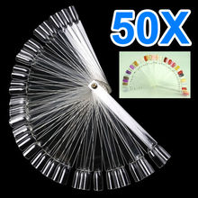 50pc False Display Nail Art Fan Wheel Polish Practice Tip Sticks nail show display tool