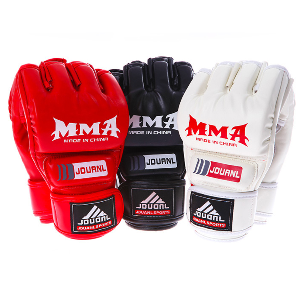 Boxing Gloves MMA Gloves Muay Thai Training Gloves MMA Boxer Fight Boxing Equipment Half Mitts PU Leather Black/Red 4
