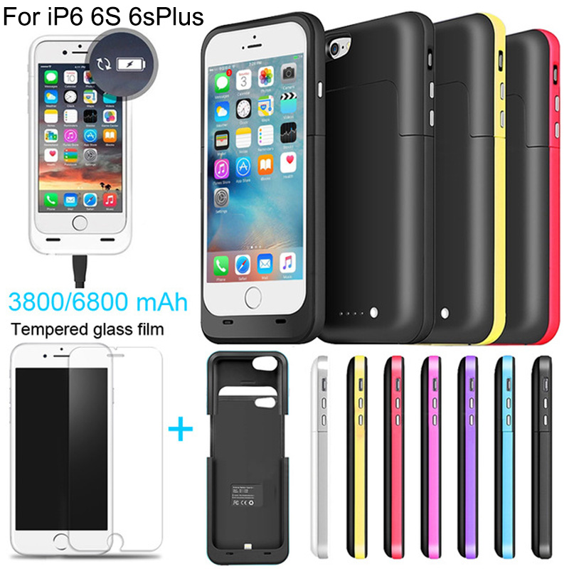 6800/3800mAh External power bank case Power pack Charger Backup Battery Case For iphone 6 6s Plus with USB line Tempered glass(China (Mainland))