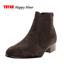 New 2017 Autumn and Early Winter Shoes Men Chelsea Boots Low Square Heel Fashion Men's Boots Male Brand Shoes K002