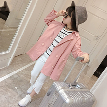 Hot Sales Solid Double Breasted Trench Coats For Girls Spring Autumn 2017 New Turn Down Collar Pink Children Girls Clothes QX107