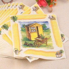 New Paper table napkin tissue decoupage wedding decorative vintage personalized printed romantic cabin hotel home cafe placemat