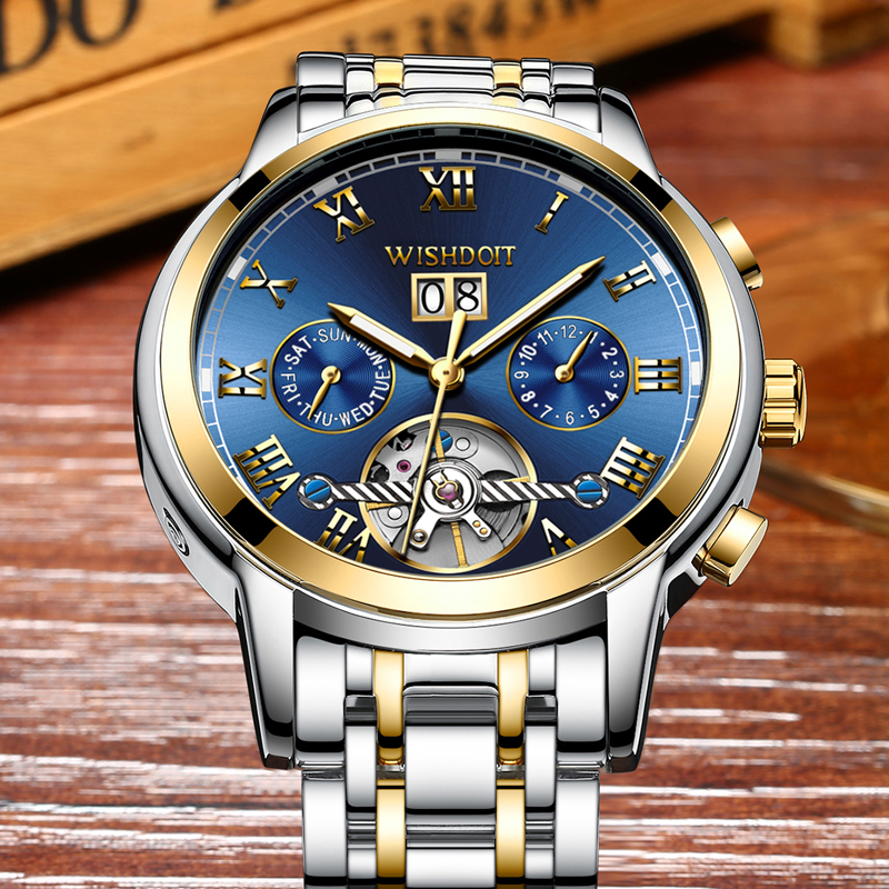 Mens Watches Top Brand Luxury Automatic Mechanical Watch Men dress steel Business Waterproof Sport Watches men Relogio Masculino<br>