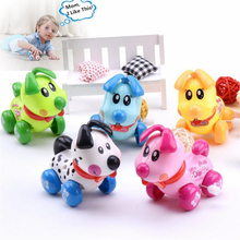 New Hot Colorful Dog Puppy Wind Up Toys Clockwork Toy Baby Kid Running Spring Toy Children Newborn Baby Mini Pet Animal(China)
